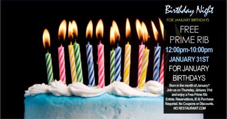 free prime rib at boathouse for january birthdays