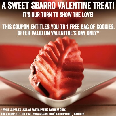 free bag of cookies at sbarro