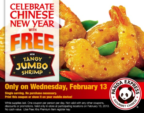 free tangy shrimp at panda