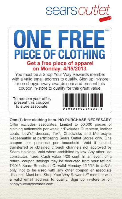 free clothing at sears