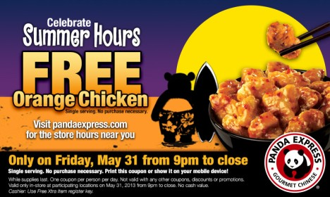 free panda orange chicken