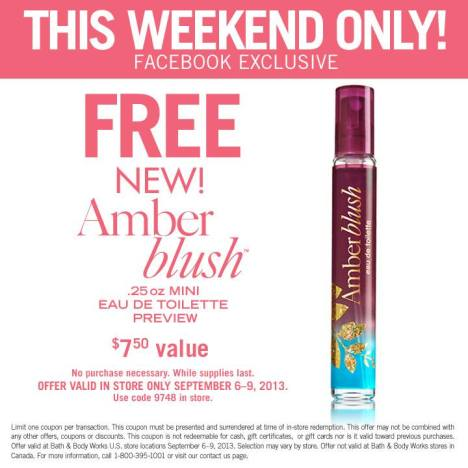 free amber blush at bath and body works
